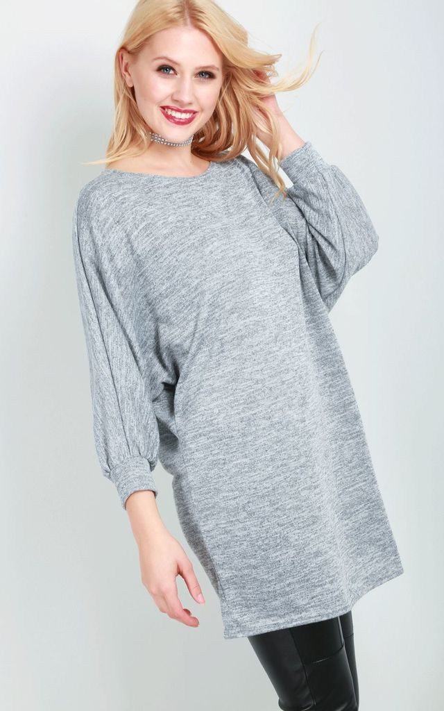 Rosie Knitted Long Sleeve Dress In Grey by Oops Fashion