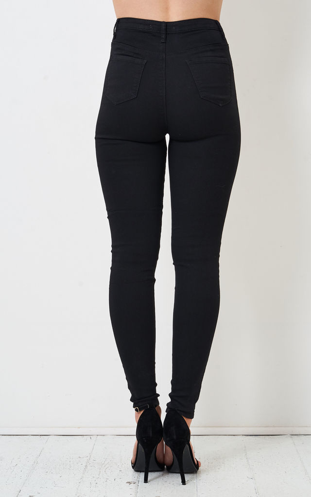 Keira Black Super Skinny High Waist Jeans by love frontrow