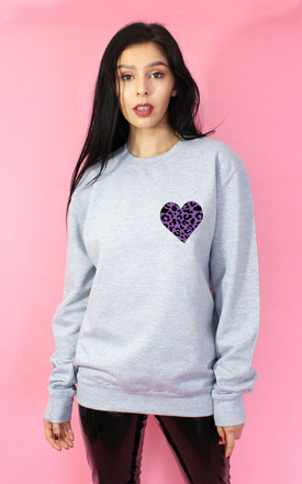 Purple Wild Heart Sweater in Grey by Tallulah's Threads