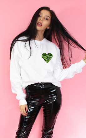 Wild Heart Sweatshirt in White/Lime by Tallulah's Threads
