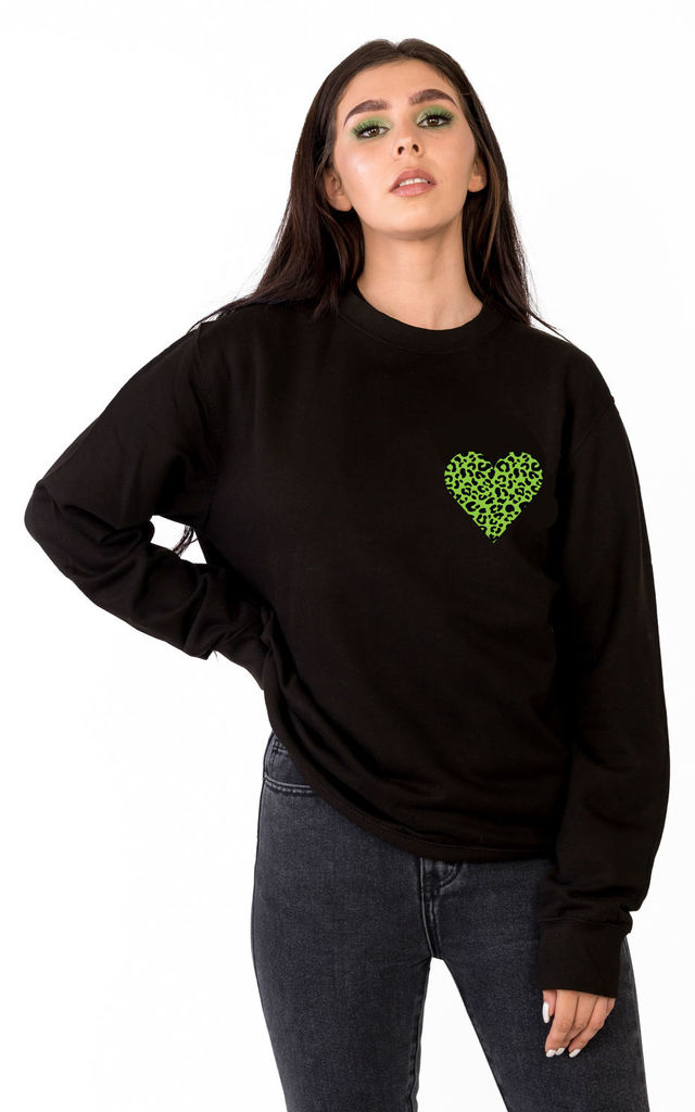 Wild Heart Sweatshirt in Black/Lime by Tallulah's Threads