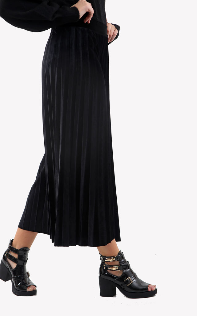 High Waisted Velvet Culottes in Black by Ivykove