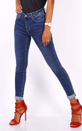 Queen Hearts Skinny Jeans in Blue Roll Up Hem by Azzediari Clothing