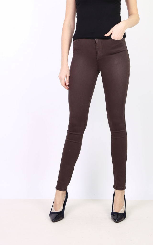 Toxik Jeans in Brown High Waisted Stretch by Azzediari Clothing