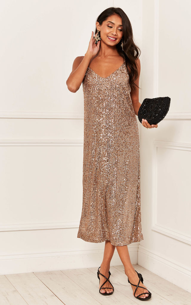 Sequin Midi Slip Dress in Rose Gold by Bella and Blue