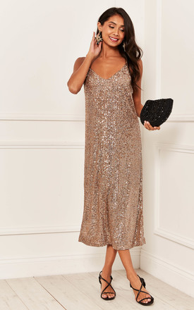 Sequin Midi Slip Dress In Rose Gold by Bella and Blue Product photo
