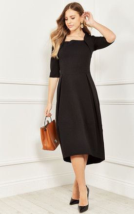 Square Neck Midi Dress With Pleats In Black by Bella and Blue Product photo