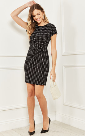 Mini Dress with Ruched Waist in Black Polka Dot by Bella and Blue