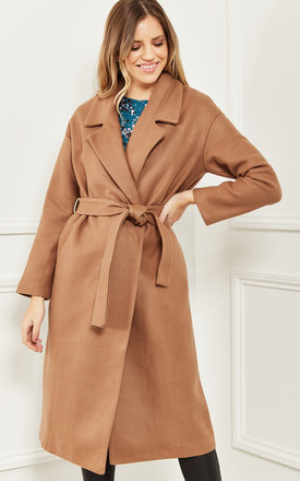Wrap Coat With Waist Tie In Camel Brown by Bella and Blue Product photo