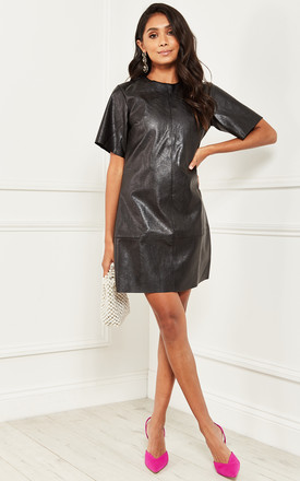 Leather Look Shift Dress In Black by Bella and Blue Product photo