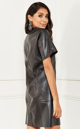 Leather Look Shift Dress in Black by Bella and Blue
