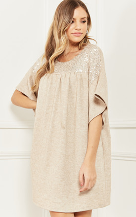 Tunic Dress With Sequin Detail In Beige by Bella and Blue Product photo