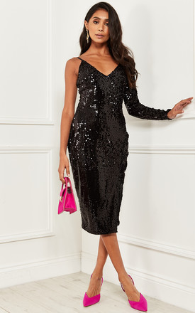 One Shoulder Sequin Midi Dress In Black by Bella and Blue Product photo