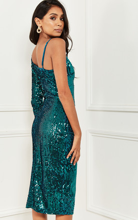 One Shoulder Sequin Midi Dress in Green by Bella and Blue