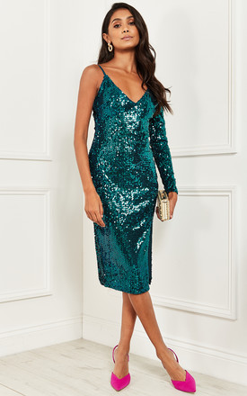 One Shoulder Sequin Midi Dress In Green by Bella and Blue Product photo