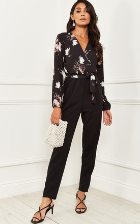 Floral Wrap Top Jumpsuit In Black by Bella and Blue Product photo