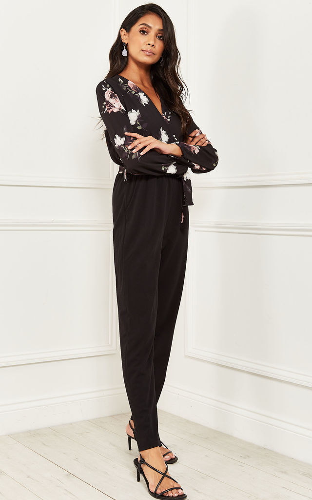 Floral Wrap Top Jumpsuit in Black by Bella and Blue