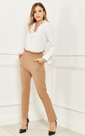 High Waist Trousers With Frill Detail In Beige by Bella and Blue Product photo