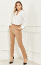 High Waist Trousers with Frill Detail in Beige by Bella and Blue