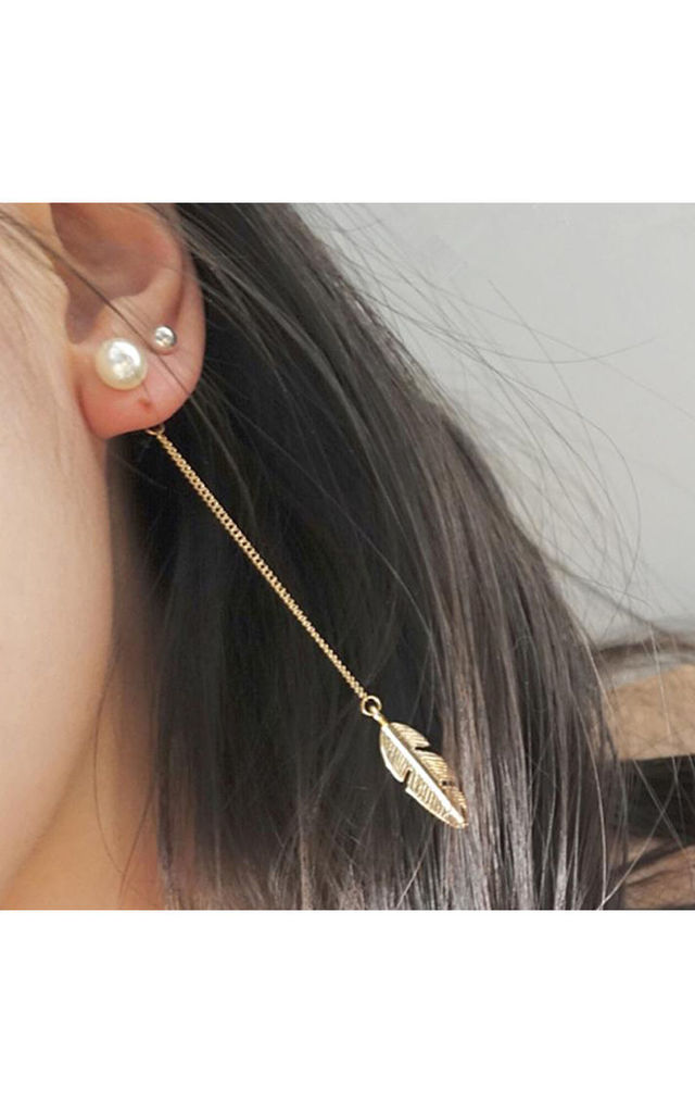 Long Gold Drop Leaf And Pearl Earrings by Always Chic