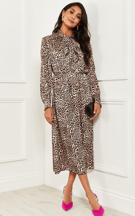 Leopard Print Pussy Bow Long Sleeve Midi Dress by Bella and Blue Product photo