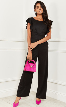Flutter Sleeve Jumpsuit In Black Shimmer by Bella and Blue Product photo
