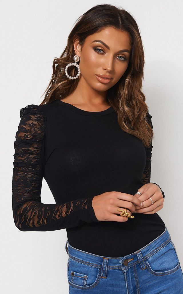 BLACK LACE PUFF SLEEVE T-SHIRT by The Fashion Bible
