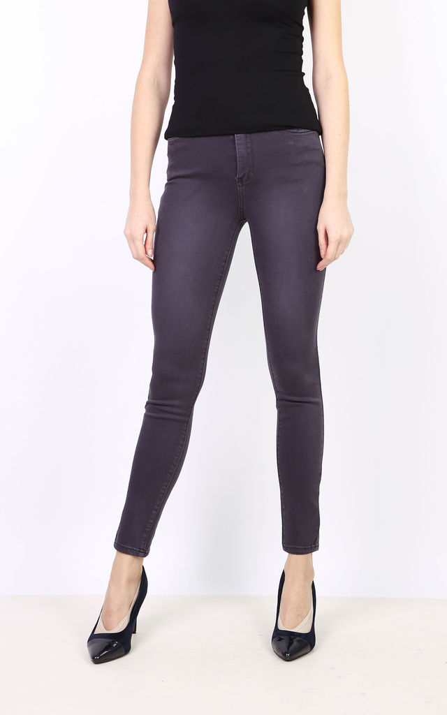 Toxik Jeans in Charcoal Dark Grey High Waisted Skinny Stretch by Azzediari Clothing