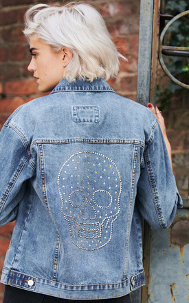 Swarovski® Large Chrome Skull Denim Jacket by Disegno Mio Product photo