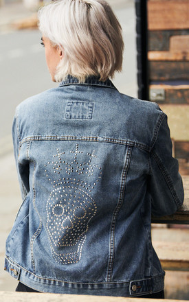 Swarovski Chrome Skull & Crown Denim Jacket by Disegno Mio Product photo