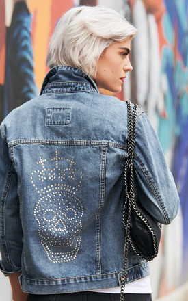 Swarovski Clear Skull & Crown Denim Jacket by Disegno Mio Product photo