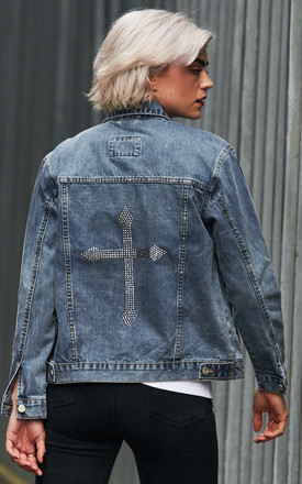 Swarovski® Chrome Cross Denim Jacket by Disegno Mio Product photo