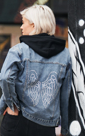 Swarovski Clear Crystal Wings Denim Jacket by Disegno Mio Product photo