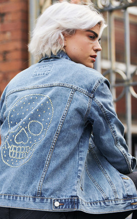 Swarovski® Large Clear Skull Denim Jacket by Disegno Mio Product photo
