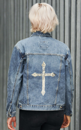 Swarovski® Clear Cross Denim Jacket by Disegno Mio Product photo