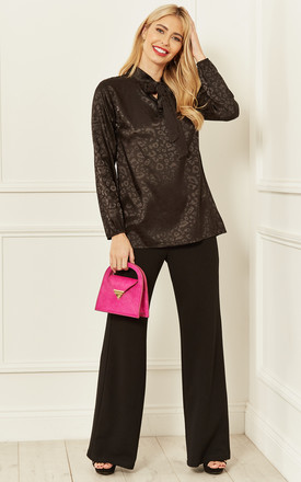 Jacquard Leopard Pussy Bow Blouse in Black by Bella and Blue