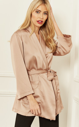 Silky Wrap Over Top In Beige by Bella and Blue Product photo