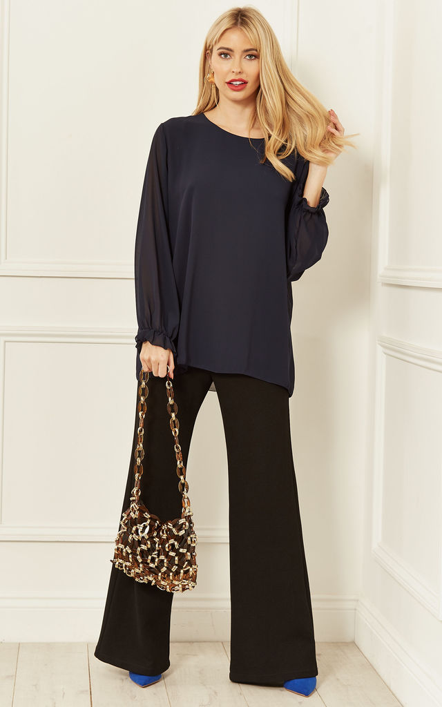 Sheer Sleeve Blouse in Navy by Bella and Blue