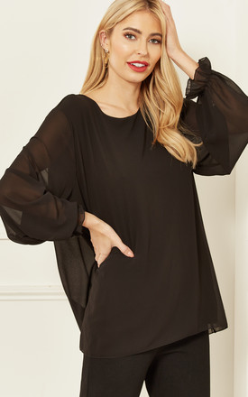 Sheer Sleeve Blouse In Black by Bella and Blue Product photo