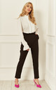 High Waist Trousers With Frill Detail In Black by Bella and Blue