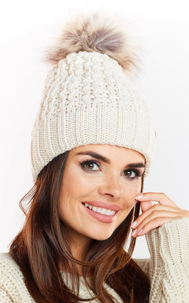 Beige Hat with Brown Pompom by AWAMA