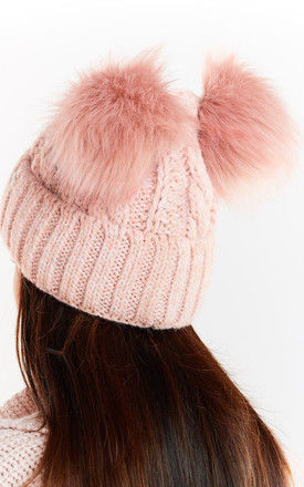 Hat with Two Pompoms in Pink by AWAMA
