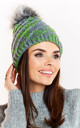 Grey-Green Winter Hat with Fur Pompom by AWAMA