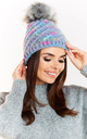 Multicolour Hat with Fur Pompom by AWAMA