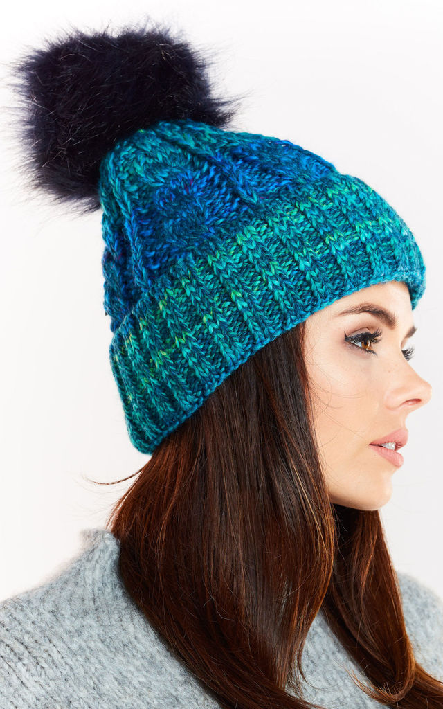 Blue Hat with Navy Blue Pompom by AWAMA