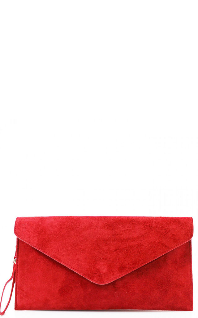 Envelope Clutch Bag in Red Snakeskin Effect by Hello Handbag