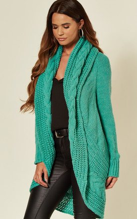 Chunky Pleat Long Cardigan In Teal by Love Product photo