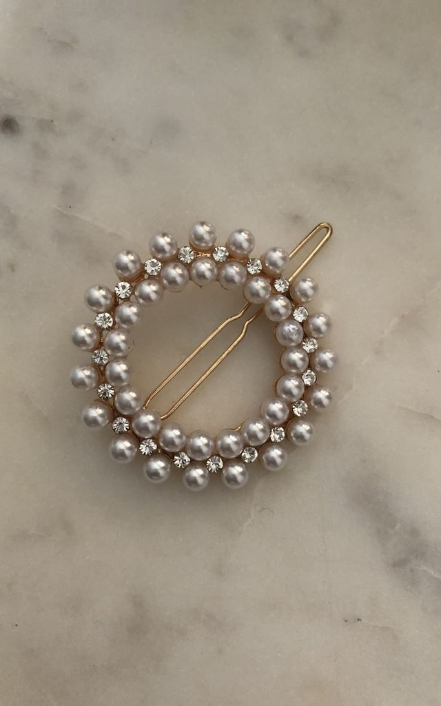 Demi pearl and jewel circle hair clip pair by It's Me Not You