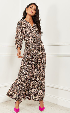 Wrap Top Maxi Dress In Leopard Print by Bella and Blue Product photo
