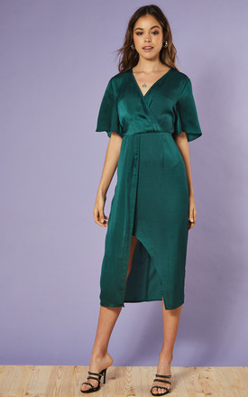 Satin Wrap Front Midi Dress In Emerald by Glamorous Product photo